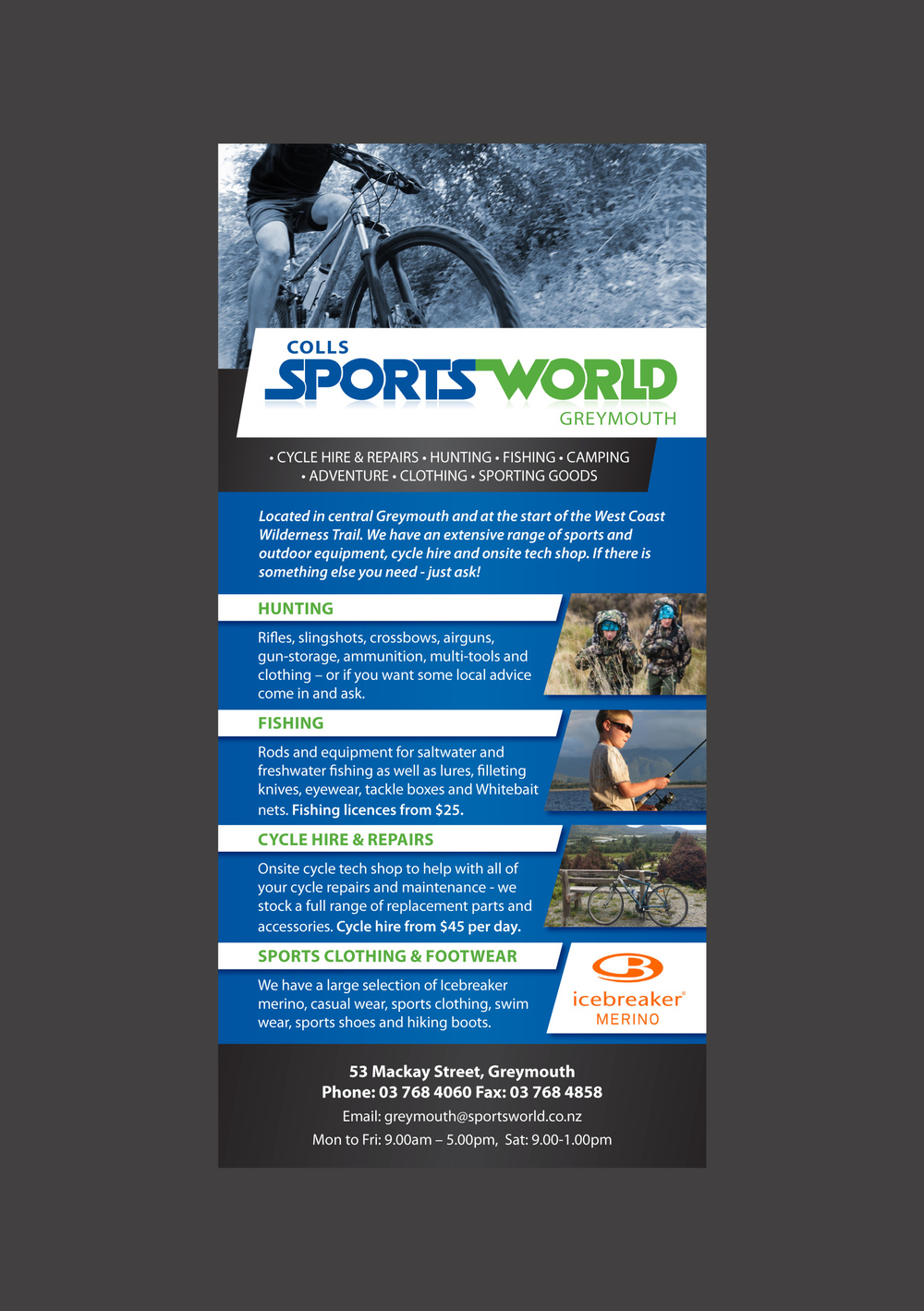 Coll's Sportsworld Rack Card Design