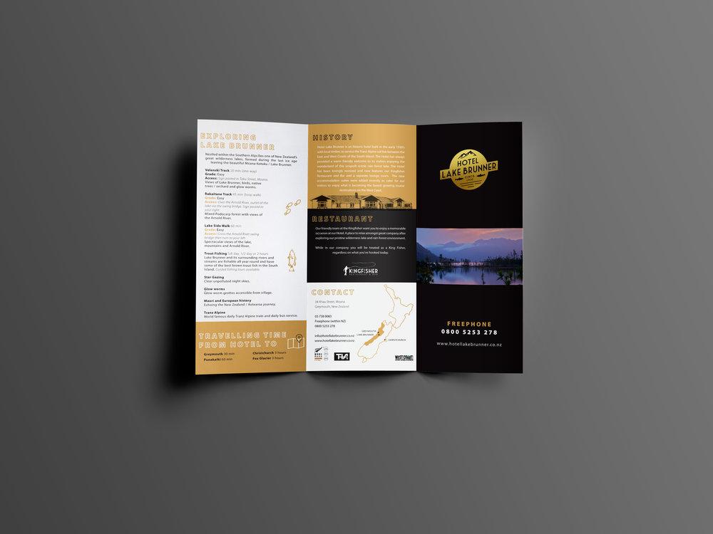 Hotel Lake Brunner Tri Fold Brochure Front