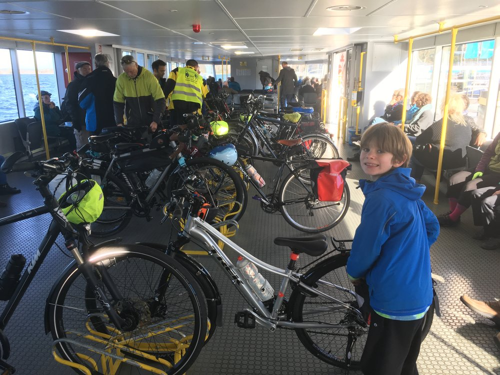 Ferry with a lot of cyclist.