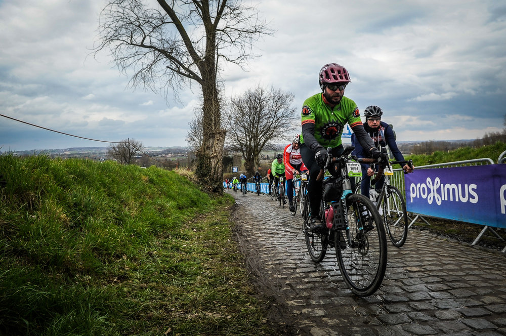 Bob cycling in Belgium during the Tour de Flanders