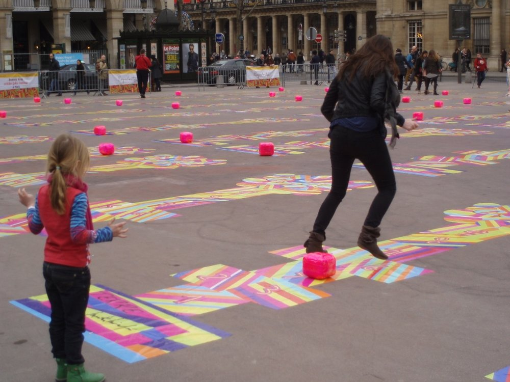 Hopscotch in Paris on the Square du Palais Royal.