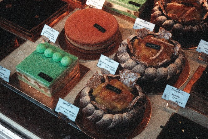Selection of patries at the famous Dalloyau pastry shop.