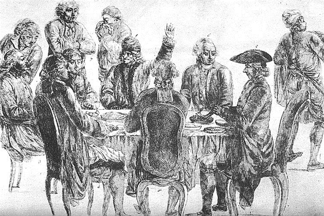 At  Café Procope:  at rear, from left to right: Condorcet, La Harpe, Voltaire (with his arm raised), and Diderot.