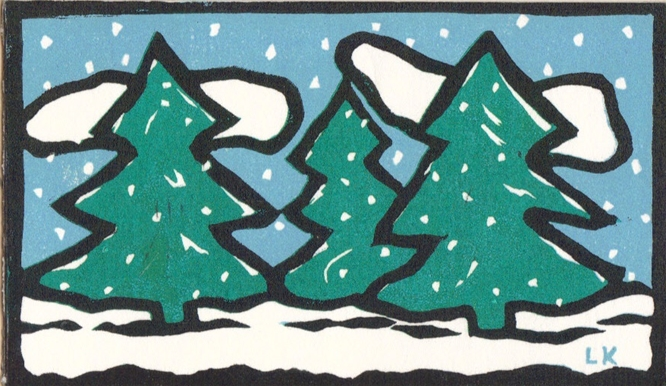 Woodblock print of pine trees.