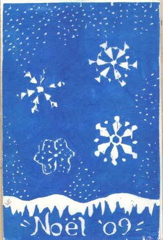 Reverse stenciled snowflakes.