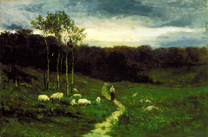 Woman on path by Edward Mitchell Bannister.