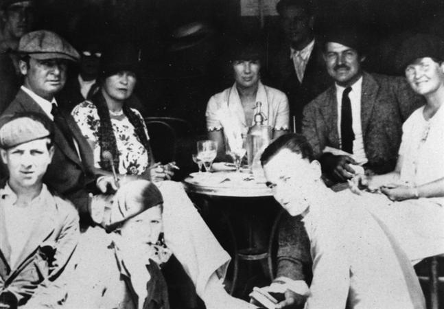 Gerald and Sarah Murphy, Pauline Pfeiffer (Mrs. Hemingway #2), Hemingway, and Hadley Hemingway (Mrs. Hemingway #1) in Pamplona.