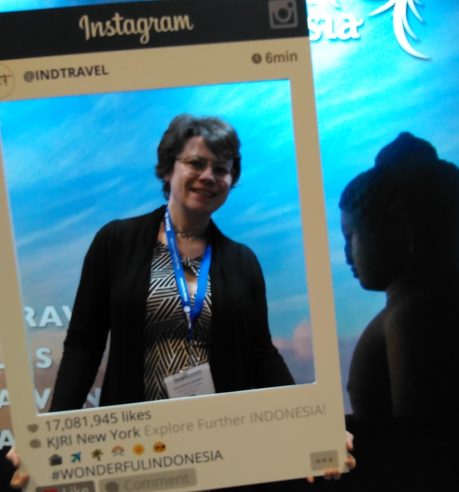 Liz at the 2016 New York Times Travel Show.