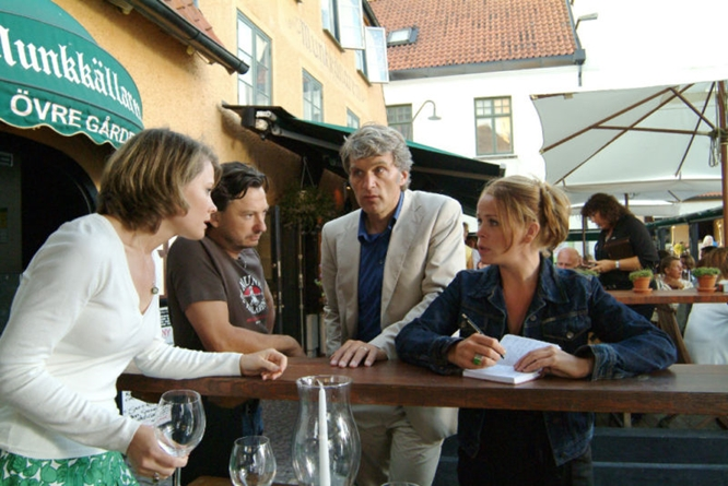 A still from  The Inspector and the Sea , a German TV series, taken in Visby's central square.