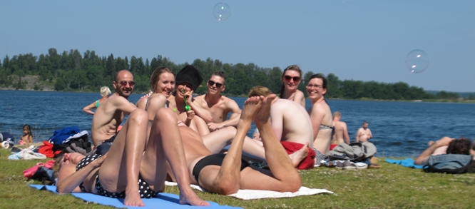 "So called ""campers"" at the so called ""beach"" at Herräng, Sweden, photo Liz Kemble."