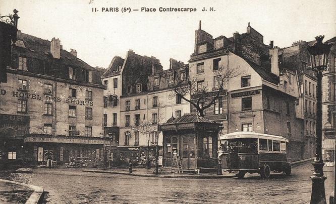 Place de la Contrescarpe, around the corner from Hemingway's first apartment in Paris.