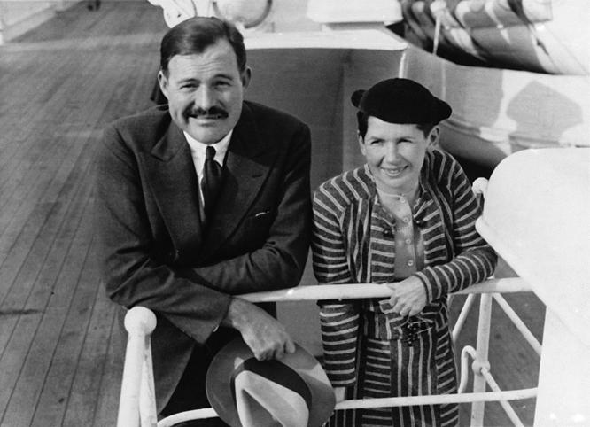 Hemingway and Pfeiffer aboard ship.