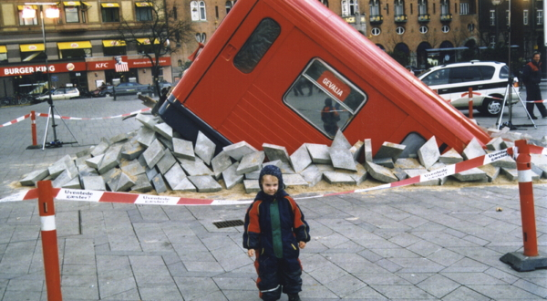 A subway car erupts from Copenhagen's main square on April 1, 2001.