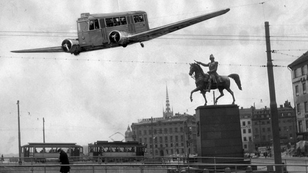 An April Fools' Day joke photo from 1950 illustrated flying streetcars taking to the skies of central Stockholm. Photo montage Pressens Bild SCANPIX.
