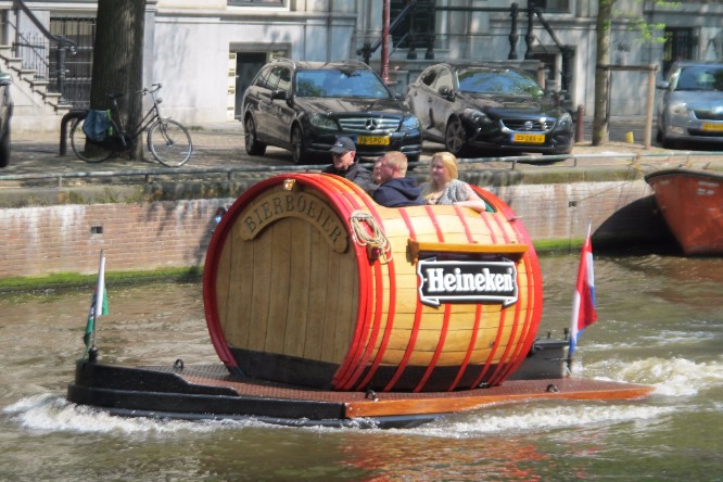 A Heineken boat in an Amsterdam canal. The joke in Amsterdam is that Heineken is bottled directly from the Amstel river.