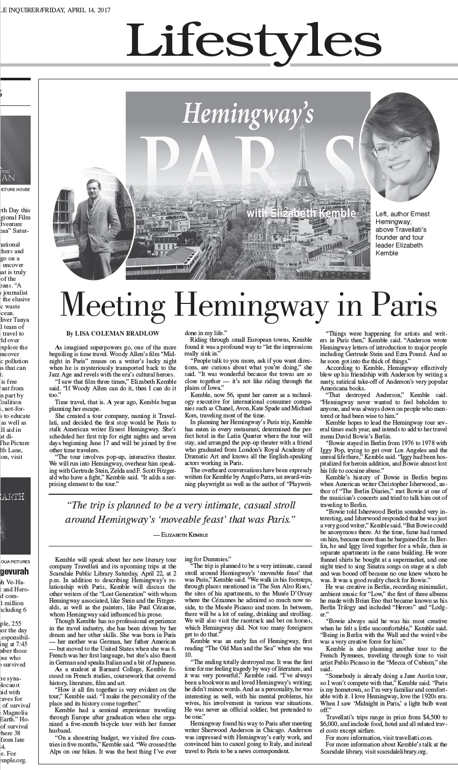 Scarsdale Inquirer Travellati Tours Hemingway's Paris Tour