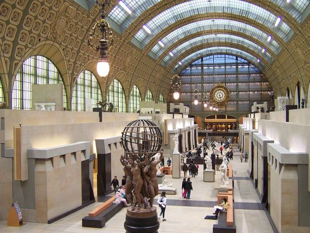 The  Musée d'Orsay  in the former train station, the  Gare d'Orsay , from which Jake Barnes leaves Paris for Pamplona in Hemingway's  The Sun Also Rises.