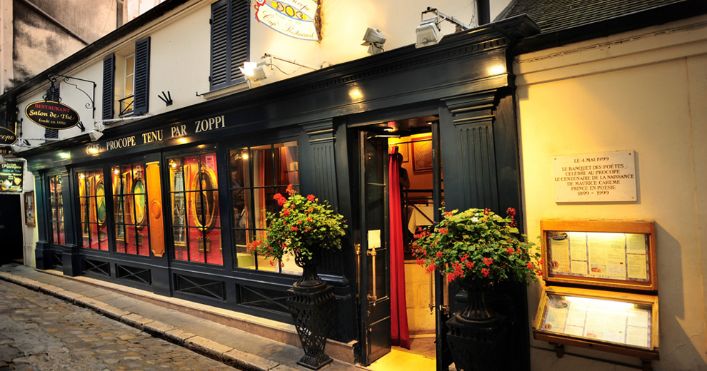 Café Procope,  the oldest café in Paris. Photo: Unknown.