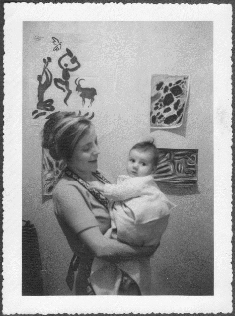 Margot with Liz in Asnieres ca. 1960.