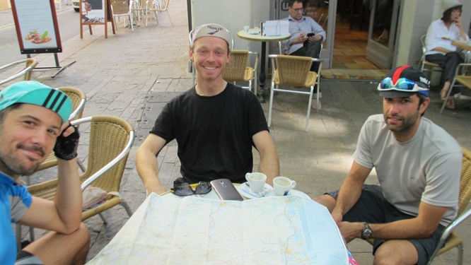 From top: Bike tourists at the Grand Cafe in Céret. Photo: Elizabeth Kemble for Travellati Tours.