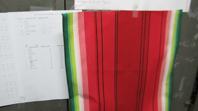 A draft of a new pattern inspired by watermelons showing how additional shades are created by blending different colors of thread together. Photo: Elizabeth Kemble for Travellati Tours.