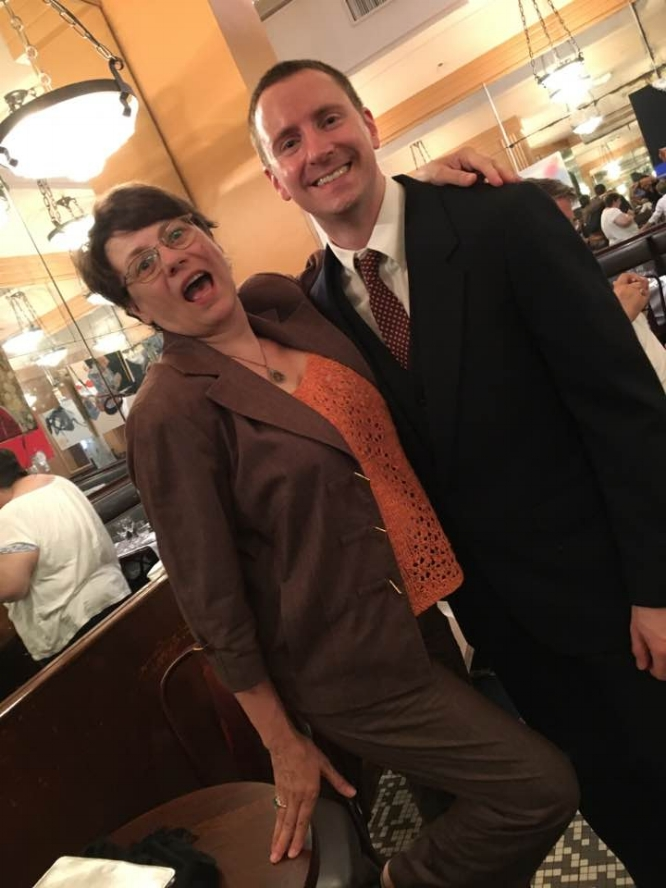 Liz Kemble, Travellati Tours founder and guide, with F. Scott Fitzgerald (Jeremy Coffman) at the Café Select in Paris. Photo Peter Vickers.