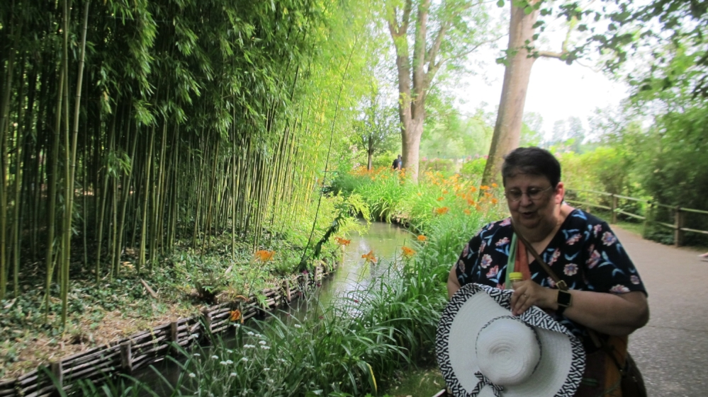 Pam in the bamboo glade in Monet's garden at Giverny. Photo Elizabeth Kemble.