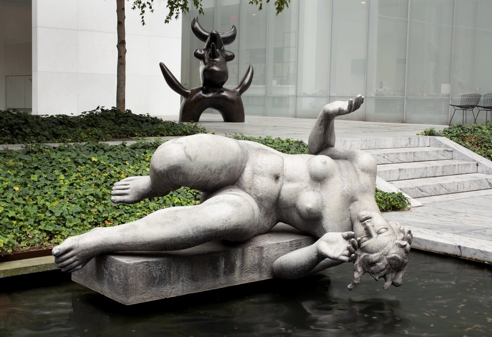 La Rivière (The River,)  Maillol, with The Moonbird, Miro, in the background. MoMA, NY.