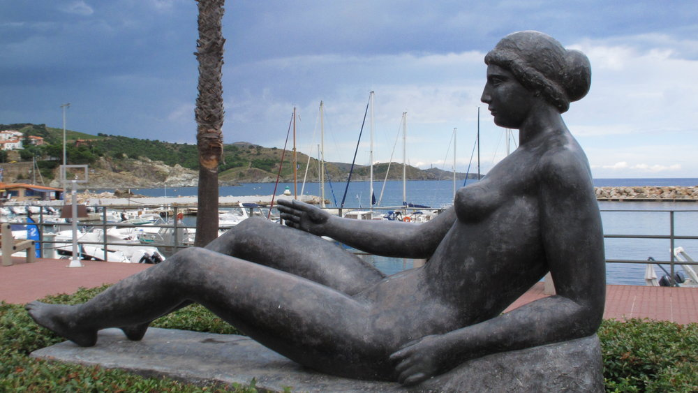 One of the many sculptures by Aristide Maillol in his hometown of Banyuls, where the Pyrenees Mountains tumble into the Mediterranean.