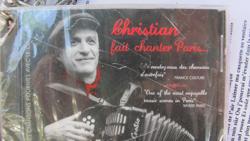 "Christian Bassoul's CD at the bal musette ""Le Petit Bal,"" Paris."