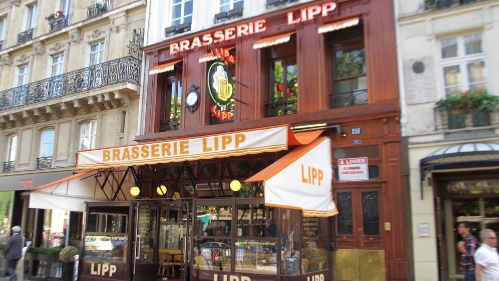 Old-time Brasserie Lipp in the Saint Germain des Pres area of Paris.