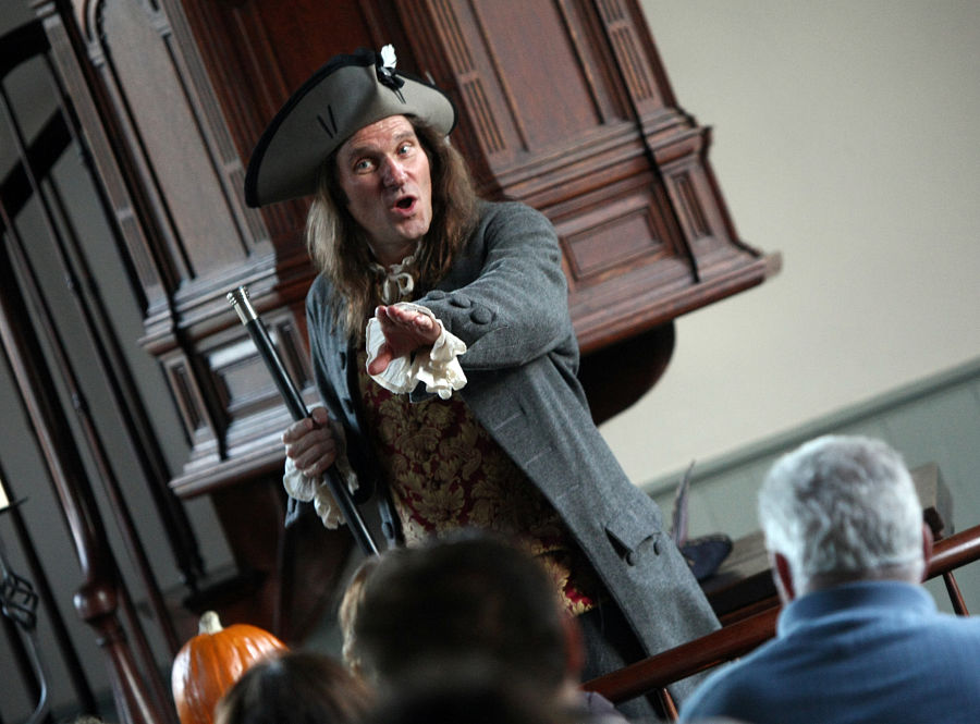 """Jonathan Kruk performing """"Irving's Legend"""" at The Old Dutch Church in Sleepy Hollow, New York. Photo Tom Nycz."""