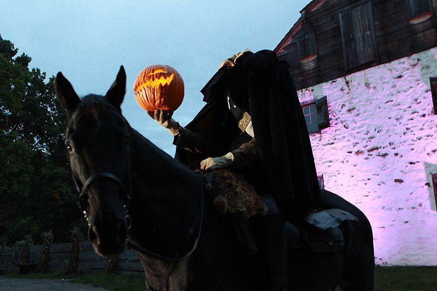 """Horseman's Hollow"" haunted village at Philipsburg Manor, New York. Photo Jennifer Mitchell."