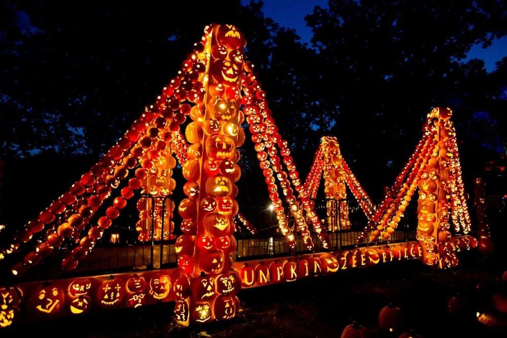 The Pumpkin Zee Bridge at the Great Jack O'Lantern Blaze at Van Cortlandt Manor New York. Photo Angie Gaul.