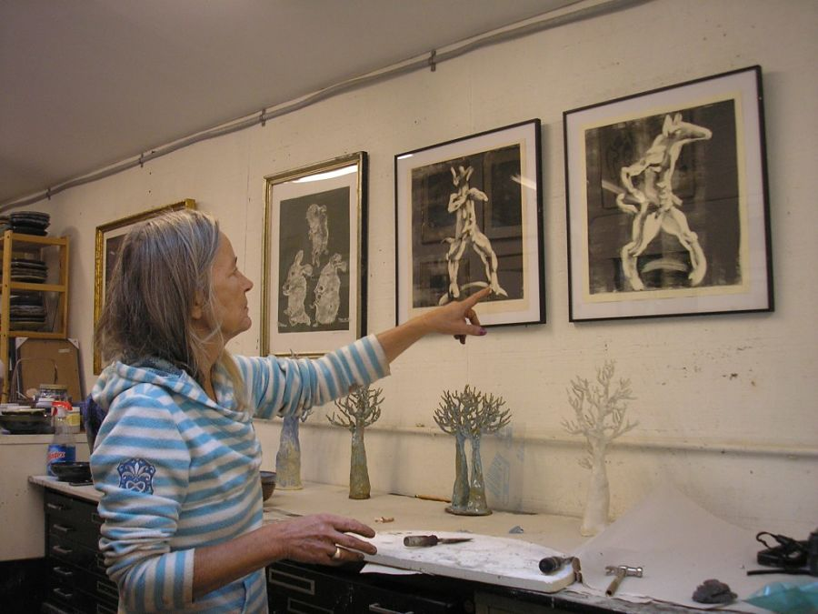 Gerda van Leeuwen in her studio with her prints and pottery. Photo Simona David.