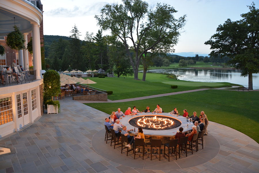 The outdoor bar and dining terrace of the Hawkeye Grill at the Otesaga Hotel, where we'll dine.