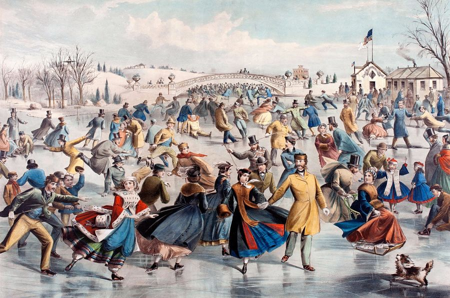 Central-Park, Winter, The Skating Pond (1862), Currier and Ives (publisher), Lyman W. Atwater, lithographer (1835–1891), after Charles Parsons (1821–1910). Hand-colored lithograph. Collection of Dick Button.