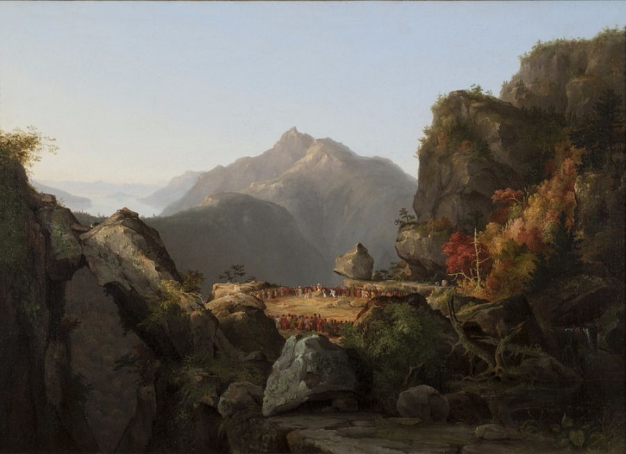 """Landscape Scene from """"The Last of the Mohicans"""", Thomas Cole, 1827."""