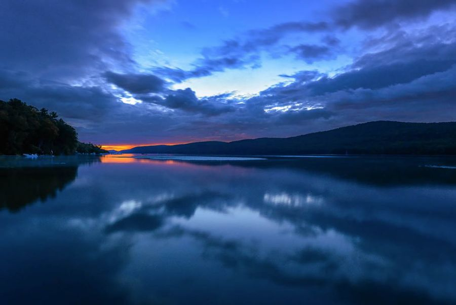 """A view of Lake Otsego from Glimmerglass Film Days showing why Cooper called the lake """"Glimmerglass."""""""