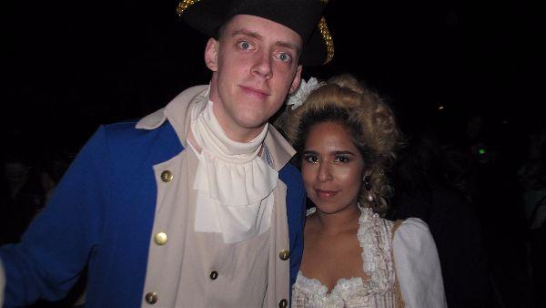 "Ichabod Crane and Katrina Van Tassel ""live"" at the Horseman's Hollow haunted village.Photo Elizabeth Kemble."