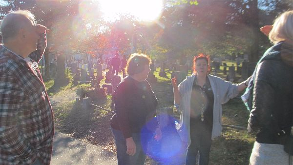 Guests from Pennsylvania on our private tour of spooky Sleepy Hollow Cemetery. Photo Elizabeth Kemble.
