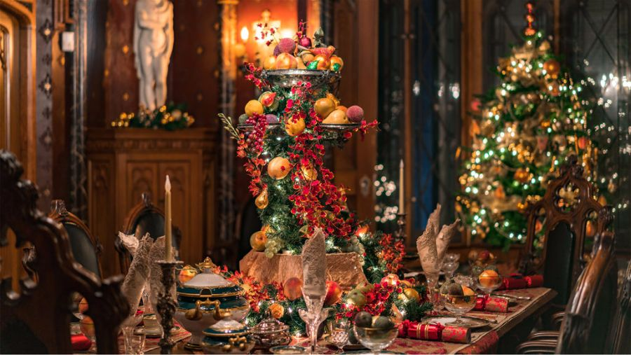 The bounty of the season displayed on a holiday themed table at Lyndhurst in Tarrytown.