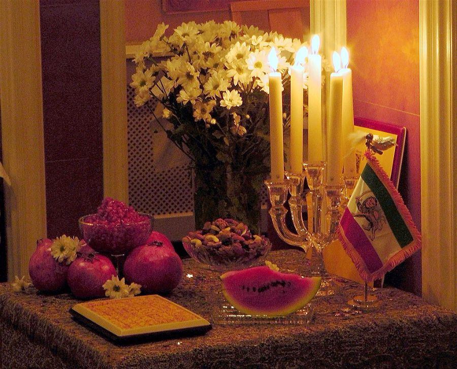 A table set for Yaldā Night for a celebration by Persians (Iranians) in Amsterdam. Photo Pejman Akbarzadeh (Persian Dutch Network).