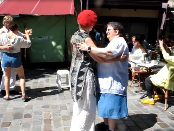 Travellati Tours guest Pam (right) dancing in the Latin Quarter in Paris, June 2017. Photo Travellati Tours.