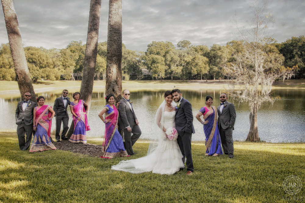 indian wedding party beautiful lake orlando photographer