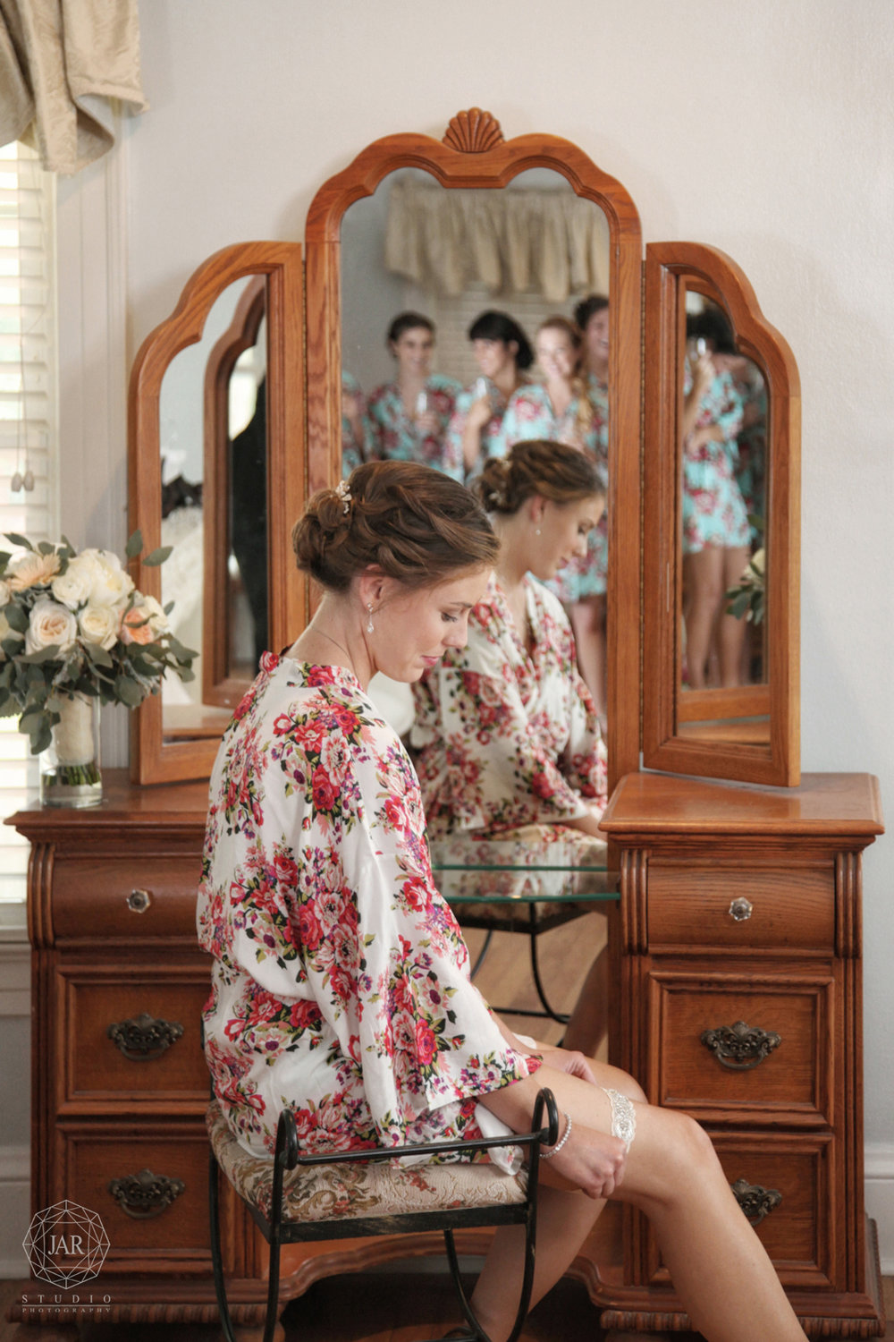 Bride floral robe beautiful getting ready Orlando photographer