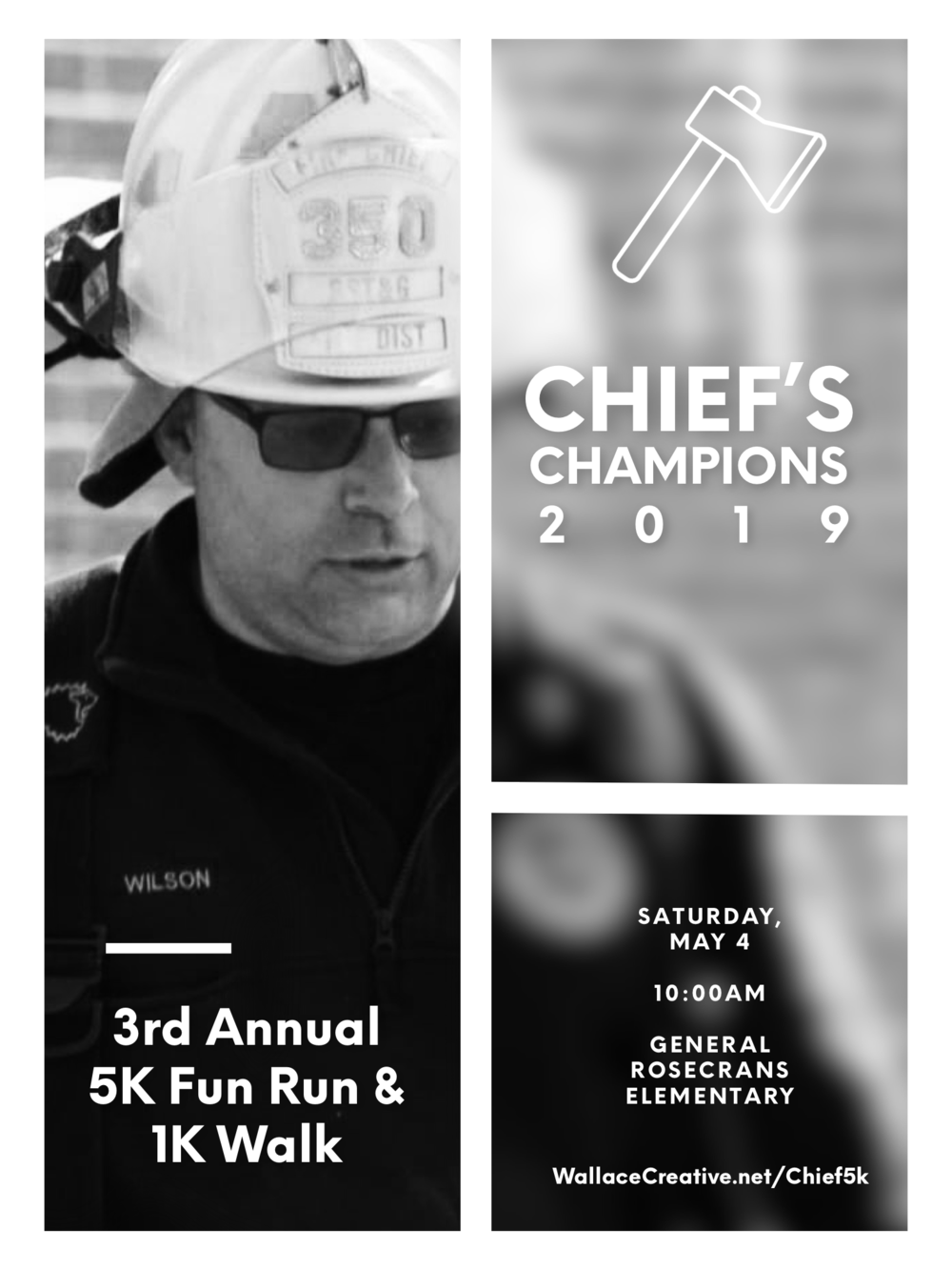 3rd Annual Chief's Champions 5K Fun Run & 1K Walk - This event started as a fundraiser for Jeff Wilson, BST&G Fire Chief as he battled Glioblastoma. His fight ended on June 8, 2018, but the battle against this disease continues. This year's run will raise funds to support the fight against brain cancer, and those still fighting with proceeds towards research and local families currently battling cancer. Please join us on Saturday, May 4, 2019 as we kick off Brain Cancer Awareness Month with this family fun run event.Chief's Champions will gather at The Park at General Rosecrans Elementary, 301 South Miller Drive, SunburyComplete the form below to register.Can't make the run but still want to donate? Scroll to the bottom of the page!