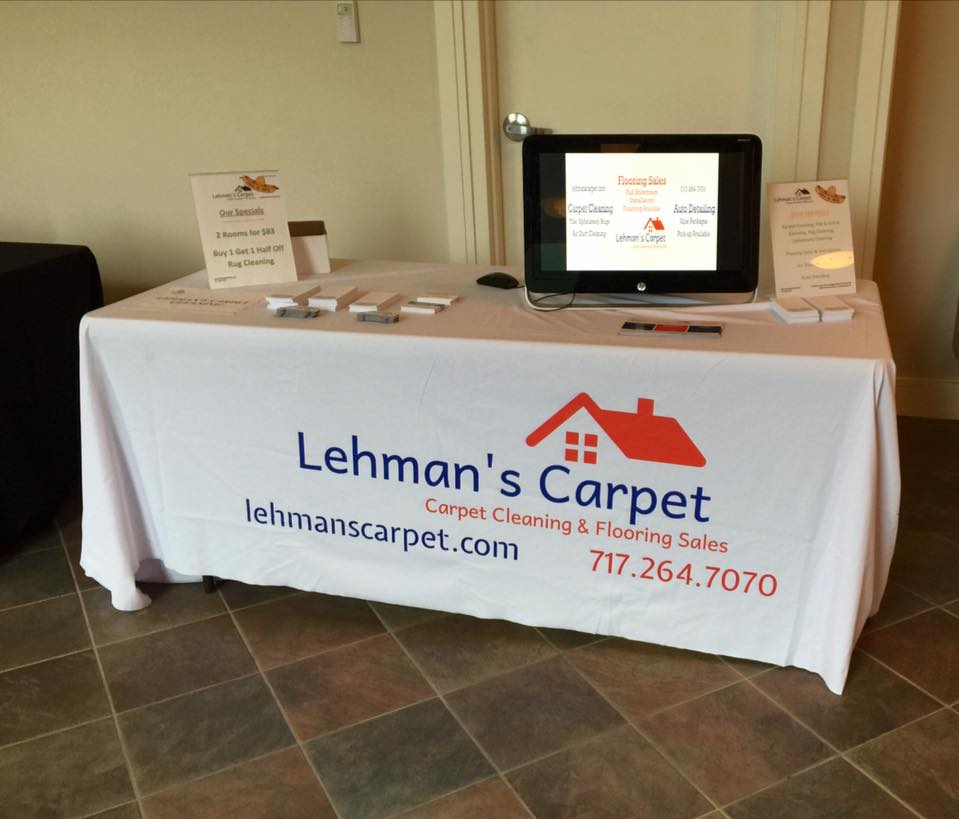 Lehman's Carpet marketing table display set up at the Regional Chamber of Commerce Cinco de Mayo Mixer on May 5, 2016