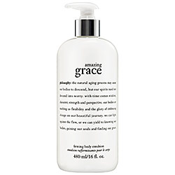 philosophy's Amazing Grace Firming Body Lotion Emulsion($37 for a 16 oz. bottle)- available on Sephora