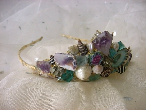 Amethyst Crystal Shell Gold Leaf Mermaid Tiara  from  mermaidspalace   ($100)